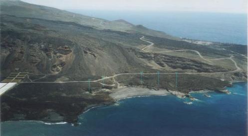 Foto aérea zona perforaciones búsqueda de la Fuente Santa