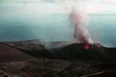 Vista delTeneguia en erupción