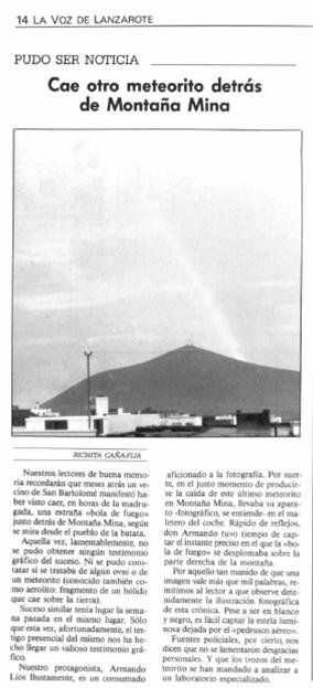 Meteorito en Montaña Mina 18 de Mayo de 1980