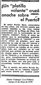 Un platillo volante cruzó sobre el Puerto de Las Palmas 1950